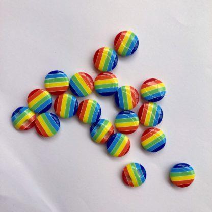 rainbow stripe flat plastic button