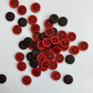 Red 10mm 4 hole shirt button with engraved black rim