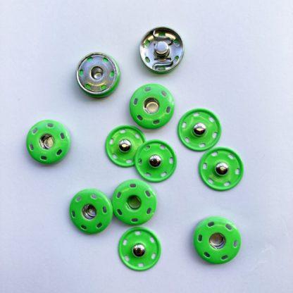 neon green painted metal snap fastener