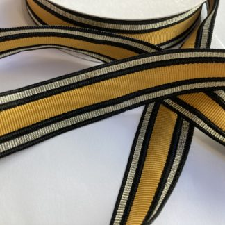 Mustard Yellow, Gold and Black striped Grosgrain Trim