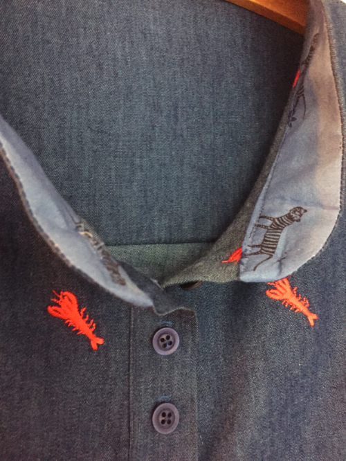 lobster embroidered cotton denim chambray shirt collar detal