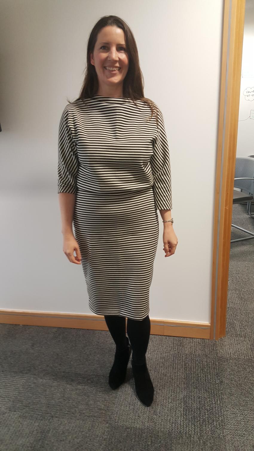wool stripe self-drafted dress