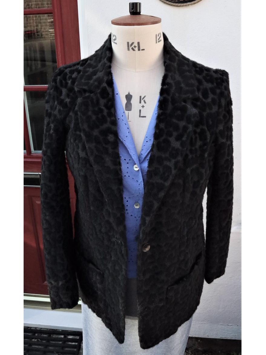 leopard tufted designer wool mix jacket