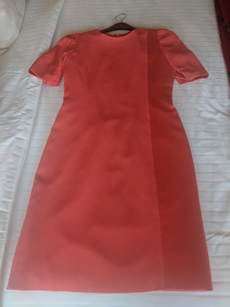 red silk crepe two way dress