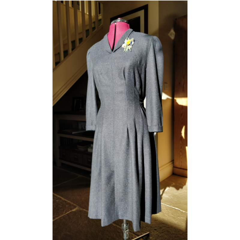 40s vintage wool and silk dress
