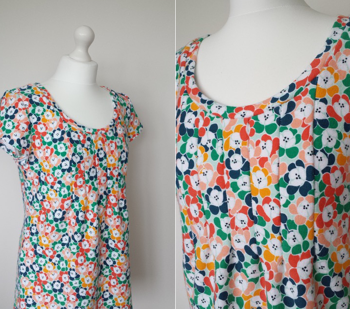 flower power print french terry jersey tunic top