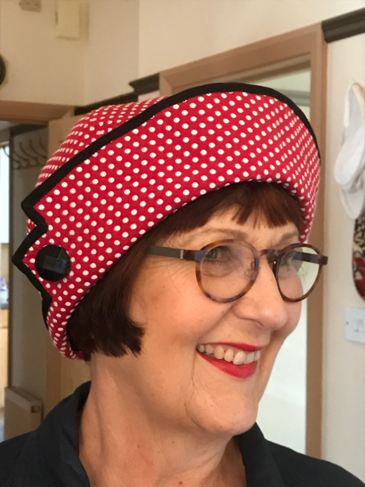 Red and White Spotty jacquard brocade retro hat