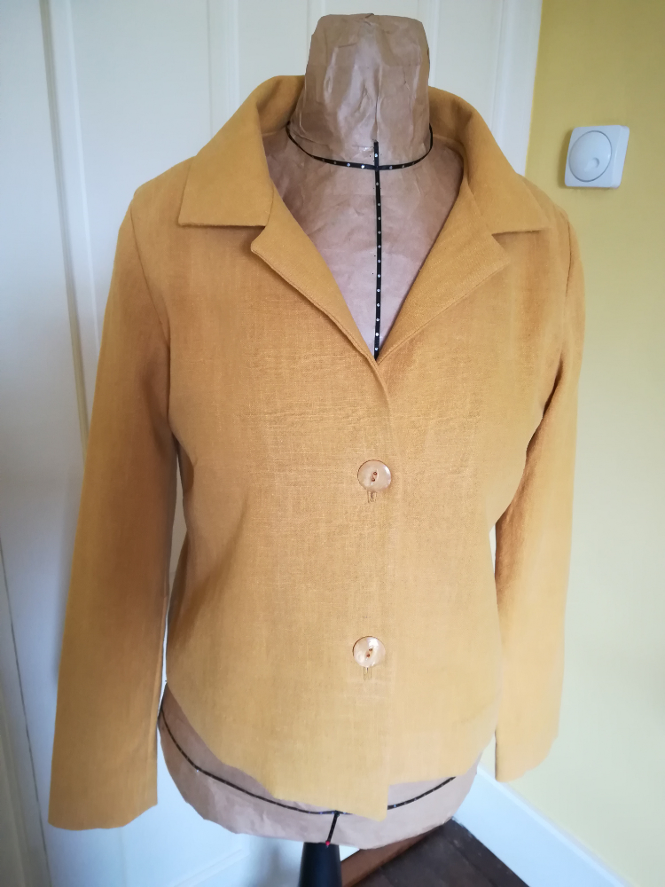 unlined yellow linen jacket with bound seams