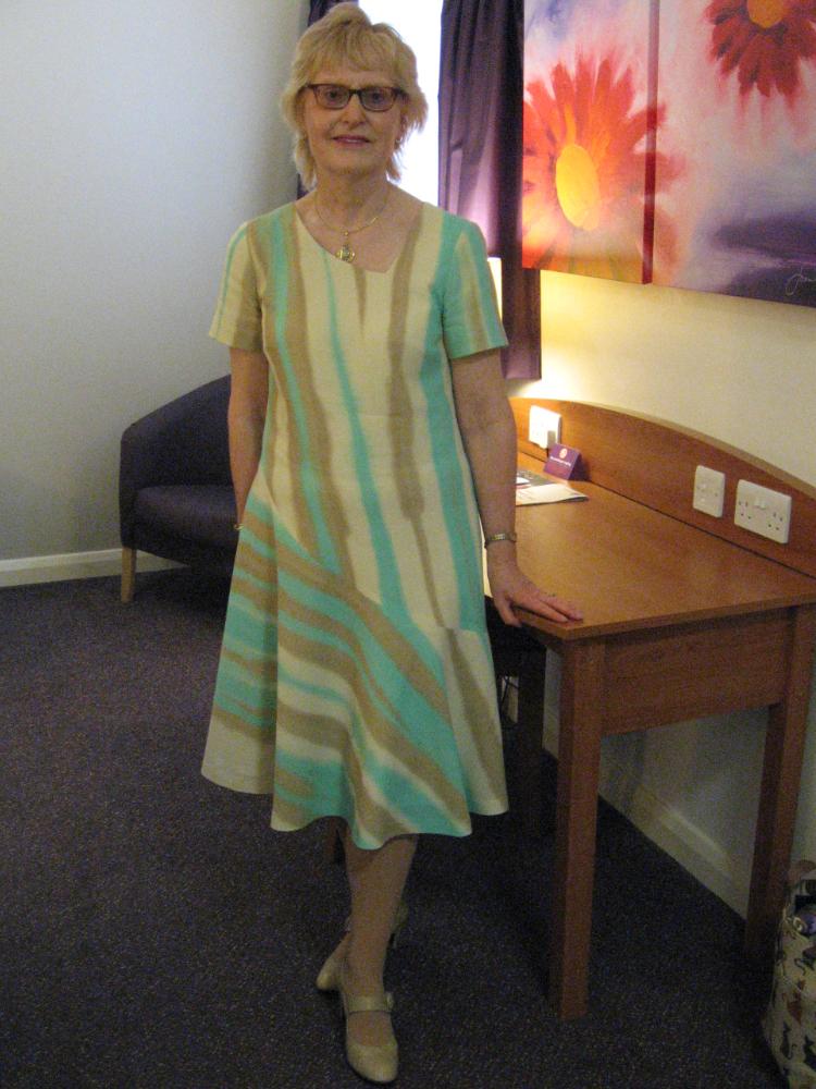 wool crepe asymmetric flared dress