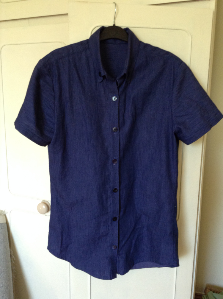 short sleeved chambray denim shirt