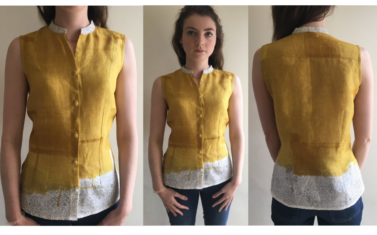 mustard and silver nani iro printed linen sleeveless shirt