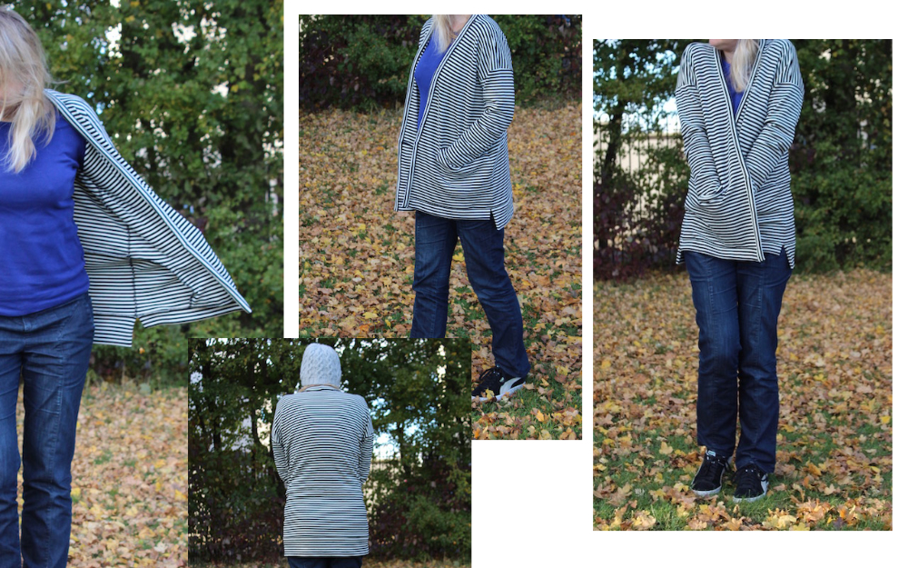 black and white stripe pure wool double jersey cardigan