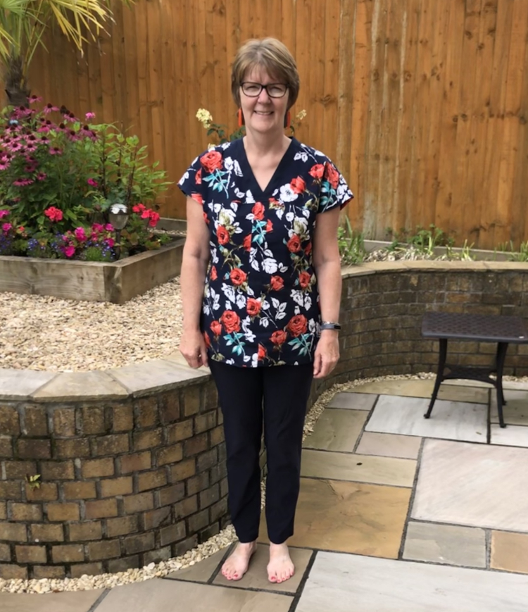 navy floral viscose and linen wrap tunic