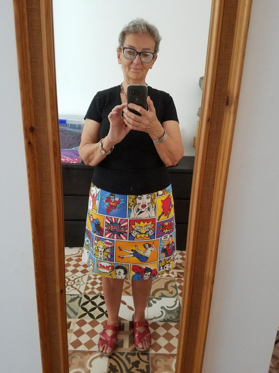 cartoon print a-line skirt