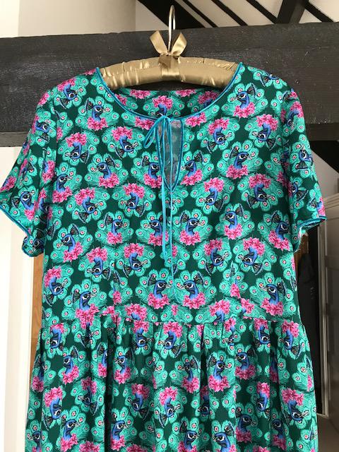 green peacock print viscose gathered dress