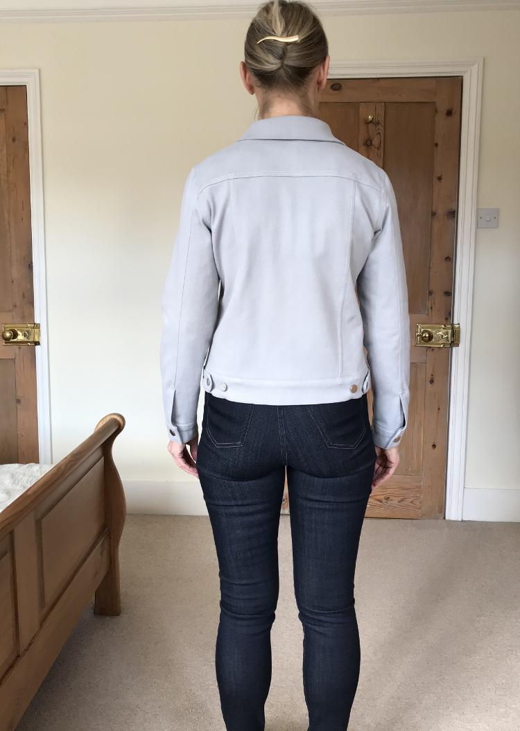 @alinadesignco Hampton jean jacket in silver grey stretch denim