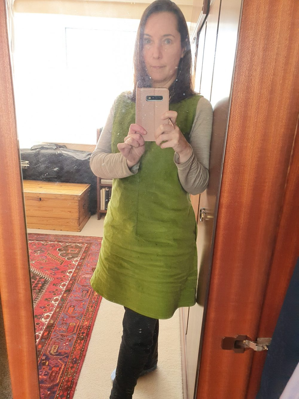 green corduroy pinafore dress