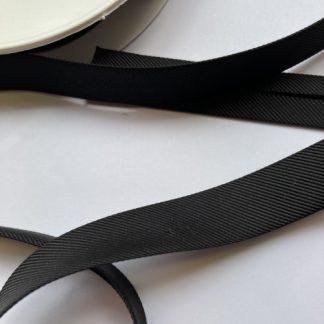 Black ottoman rib heavy 100% Viscose bias binding