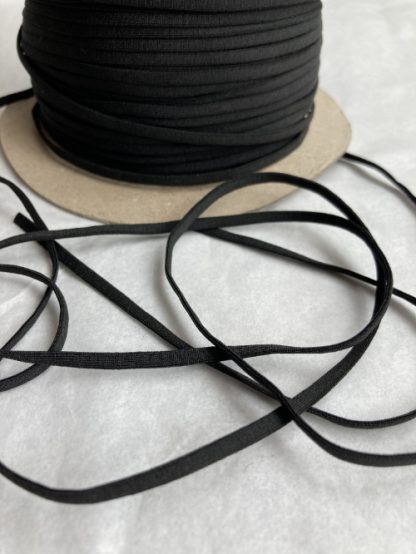 Black knitted extra soft knitted tubular flat elastic