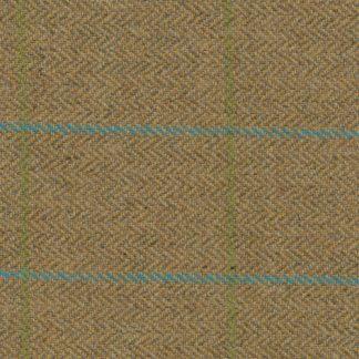 mustard sage and turquoise line check british tweed 100% wool