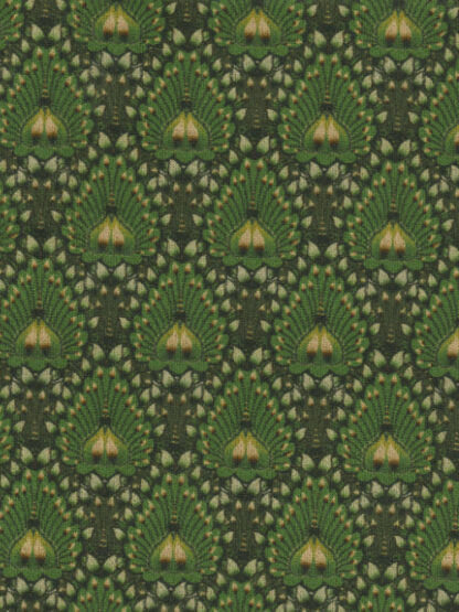 leaf green peacock print stretch sueded ponte jersey
