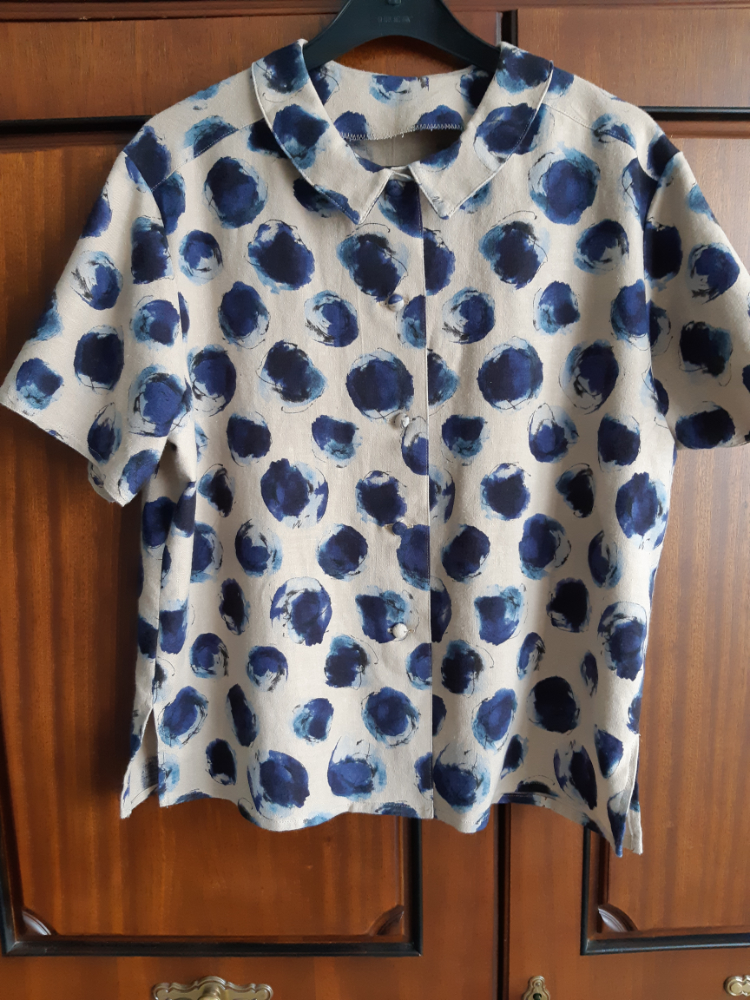 kokka printed spot linen mix retro shirt