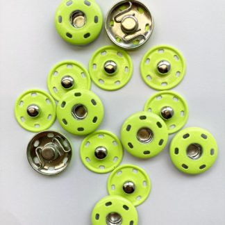 neon yellow green sew-on poppers snap fasteners