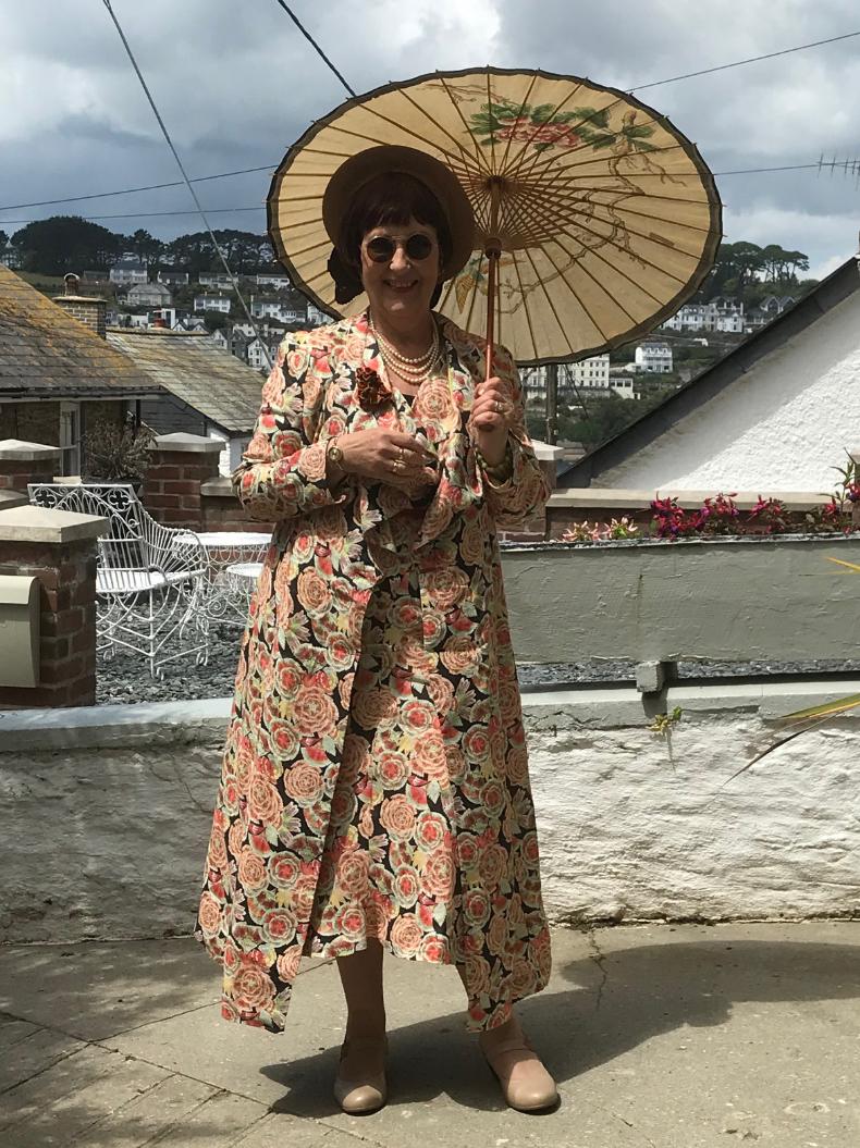 Italian printed linen long dress and coat