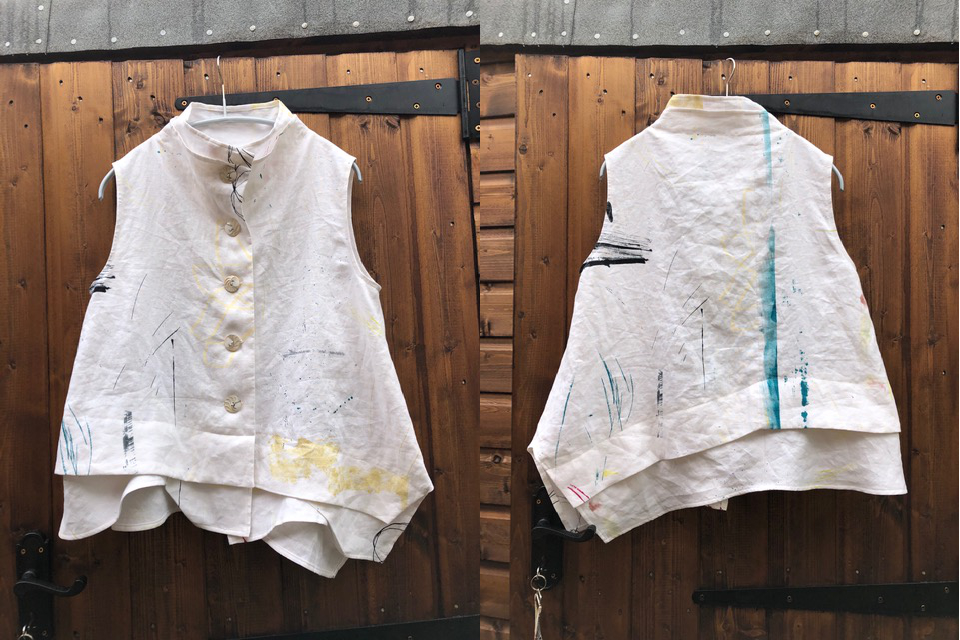 nani IRO printed Linen sleeveless shirt - front and back view