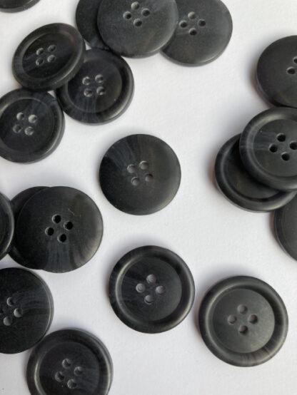 Charcoal Grey / Black marbled four hole matt plastic shirt button