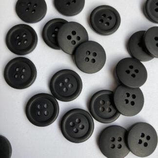 black 4 hole plastic shirt button