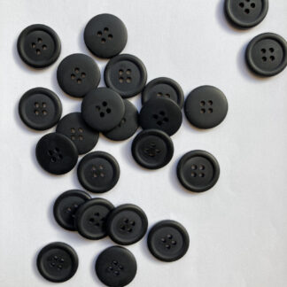 Black four hole matt plastic shirt button