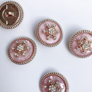 """Opalescent Pink, Metallic Gold and """"diamond"""" glass snowflake jewelled Shank Button"""