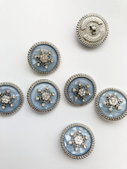 """Opalescent Light Blue, Metallic Silver and """"diamond"""" glass snowflake jewelled Shank Button"""