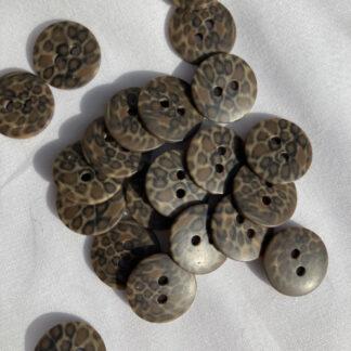 Brown leopard panther marbled 2 hole matt plastic button