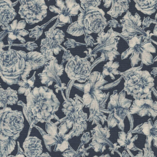navy blue and ivory classic Liberty floral print 100% cotton Tana Lawn