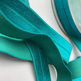 peacock blue green fold-over elastic binding