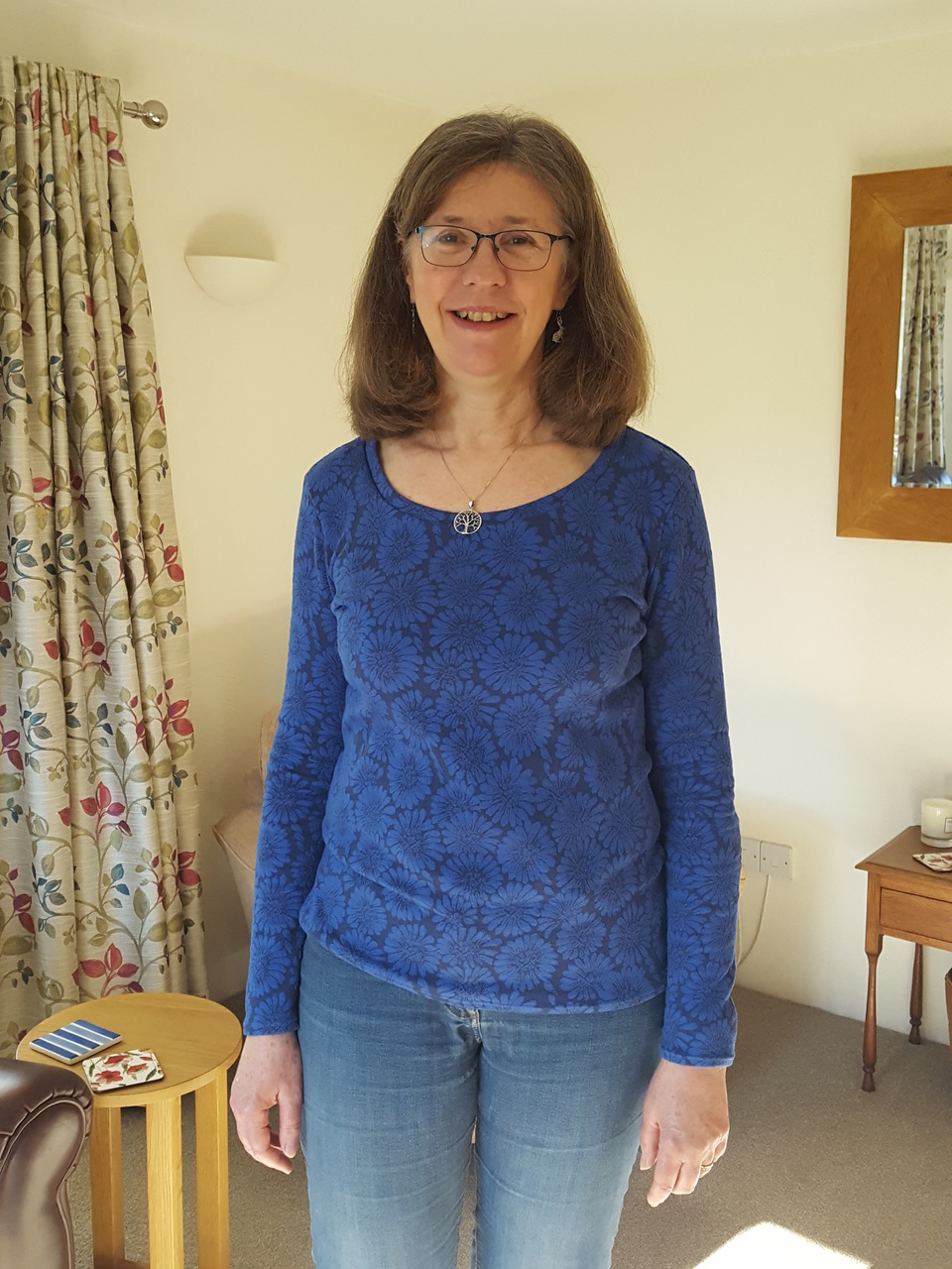 cobalt jacquard knit jersey agnes t-shirt