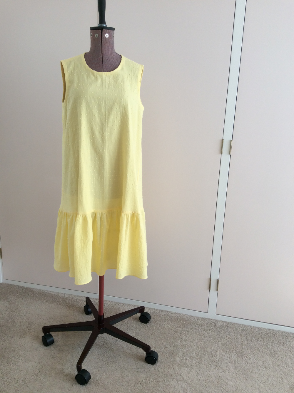 yellow dobby cotton voile sundress