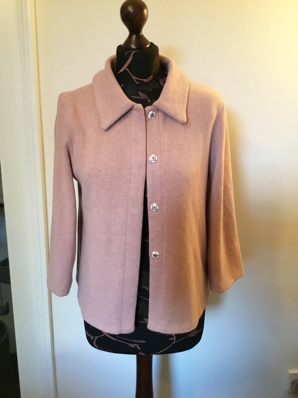 blush pink cotton mix jumper knit jacket with collar and snap fasteners