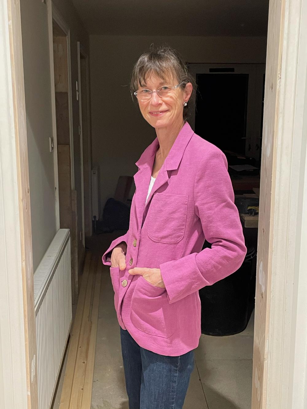 pink stonewash linen makers atelier the blazer jacket
