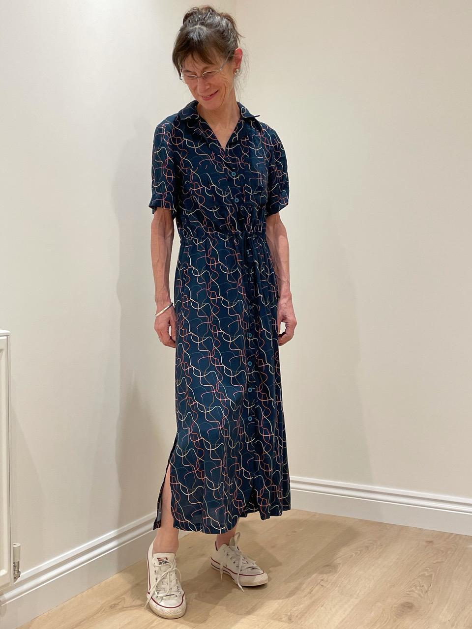 named clothing reeta shirtdress in abstract squiggle print viscose twill