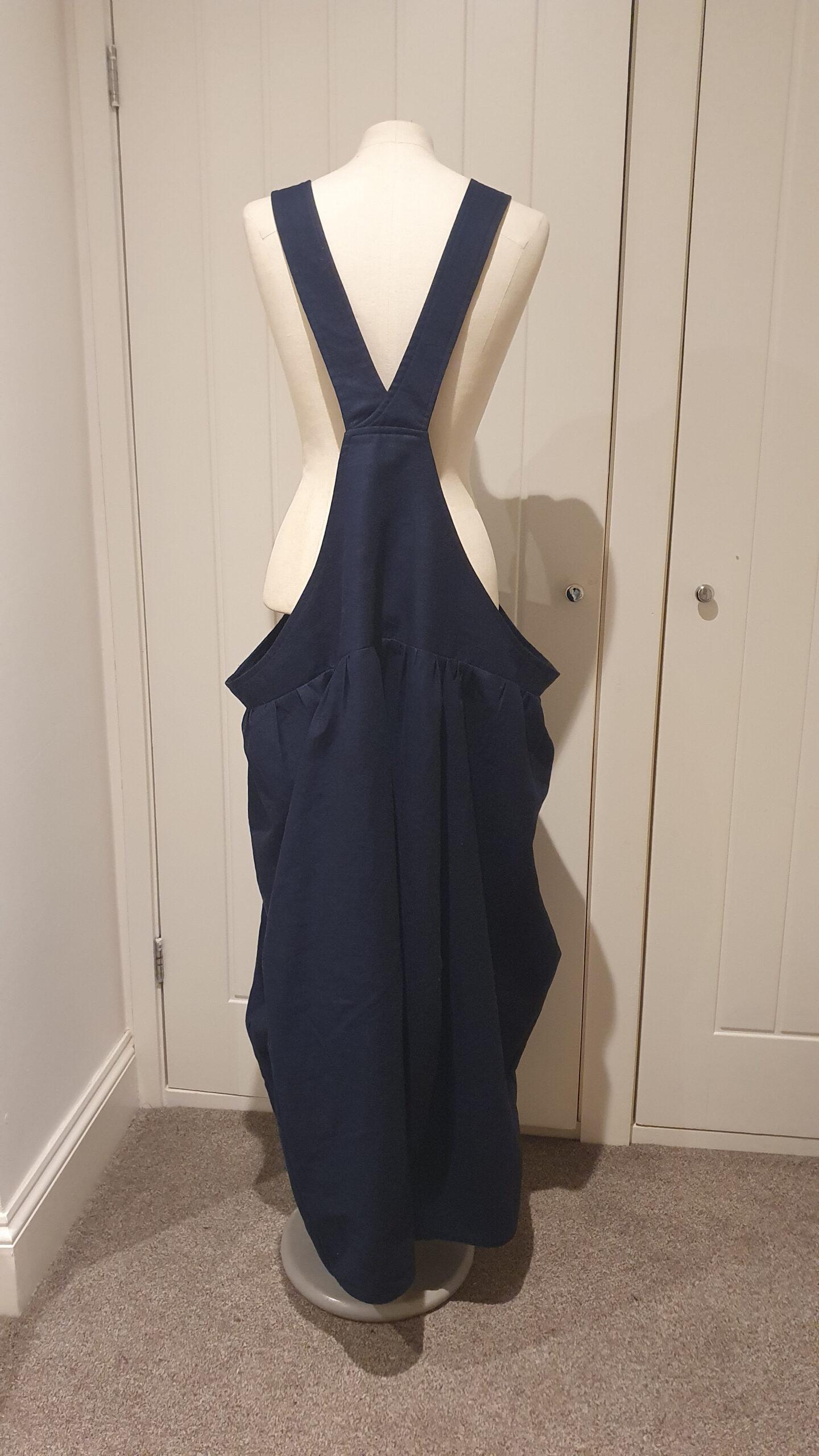 navy linen parachute skirt dungaree dress