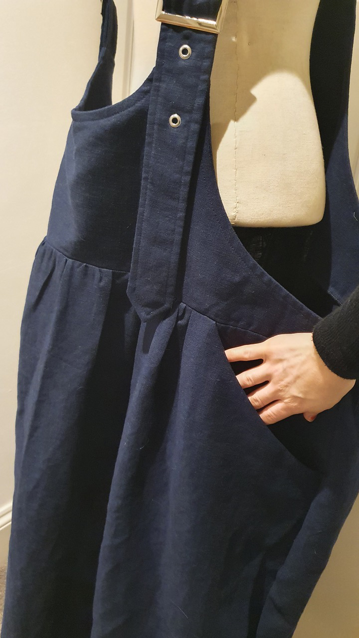 navy enzyme washed linen parachute skirt dungaree dress