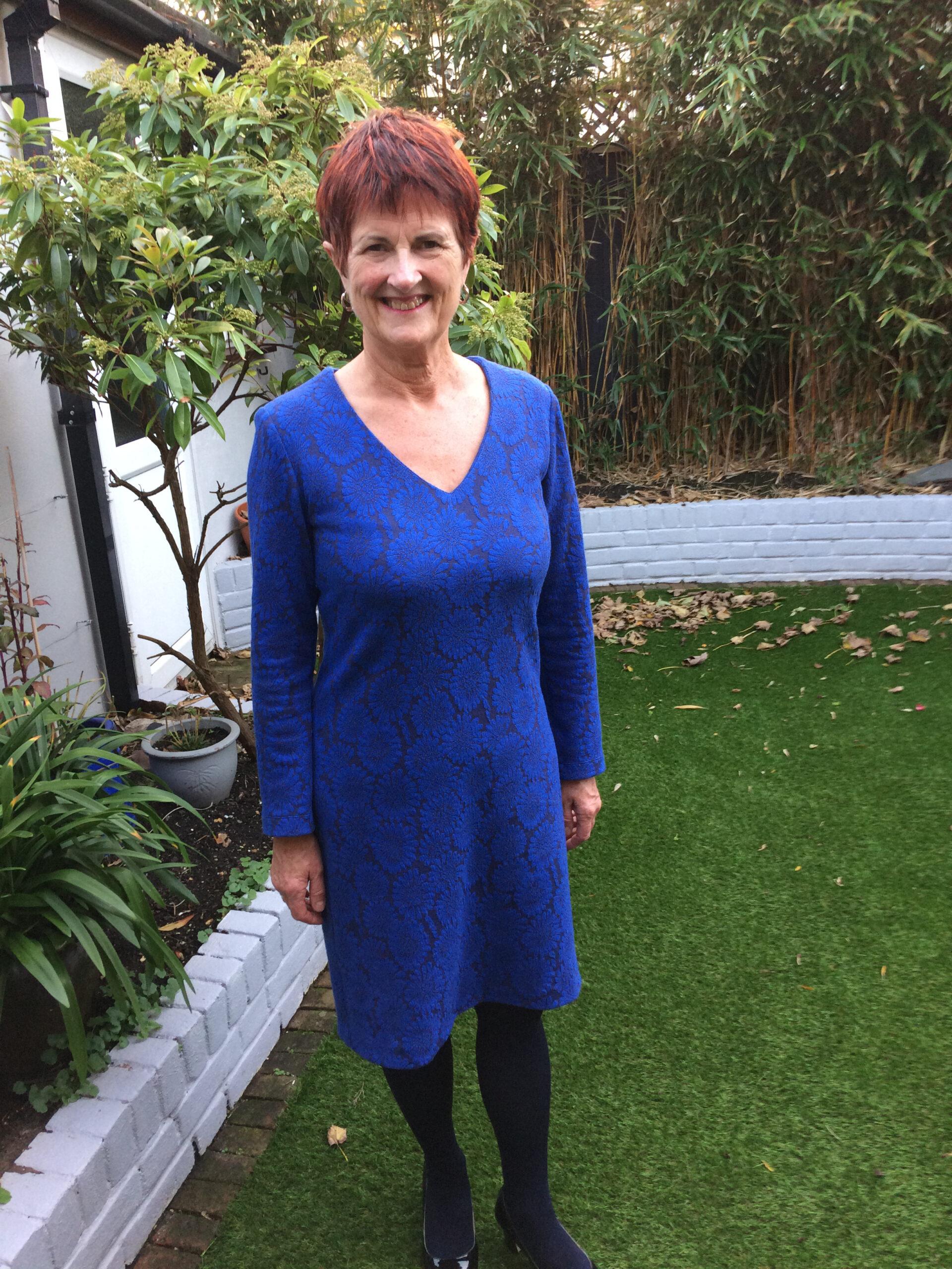cobalt floral viscose mix jacquard jersey dress