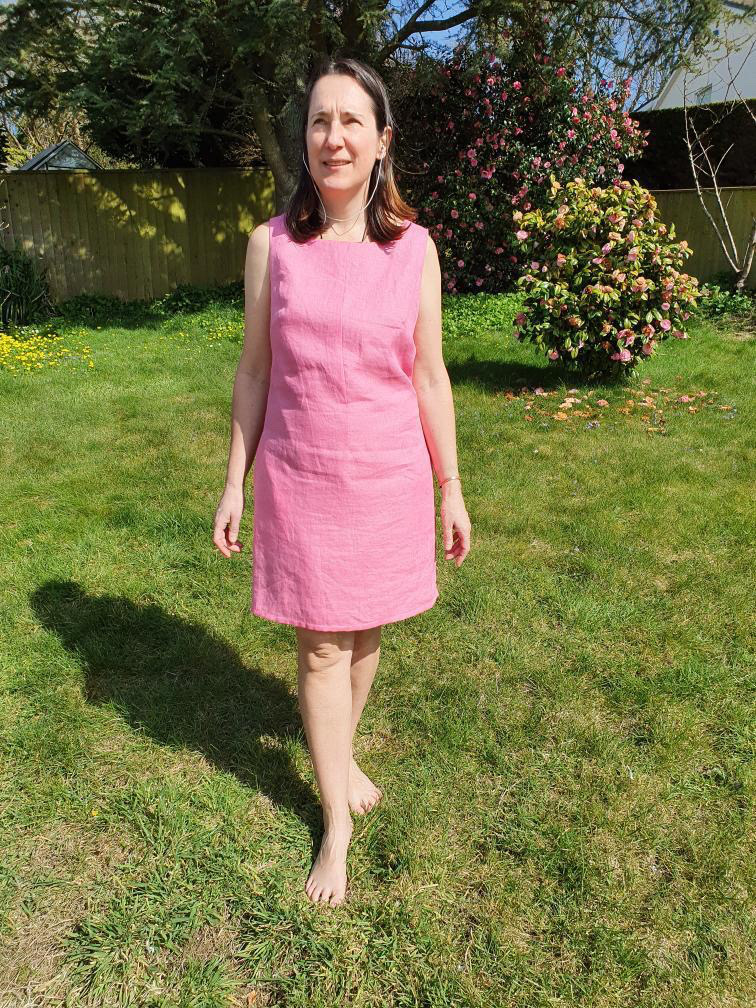pink linen shift dress with green lining