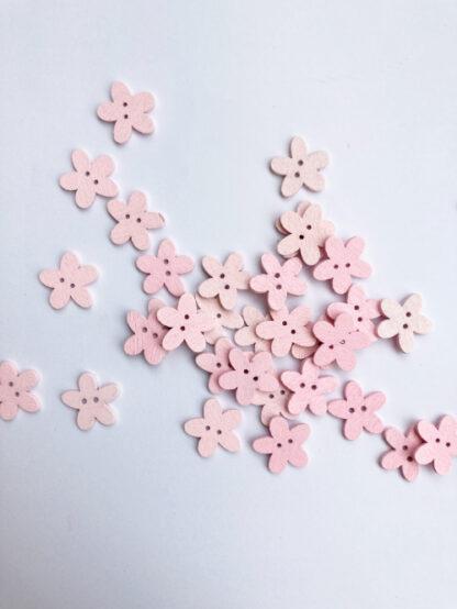 Pale Pink daisy shape flat wooden button