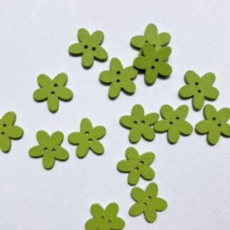 Apple Green daisy shape flat wooden button