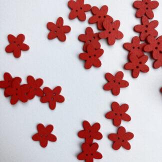 Red daisy shape flat wooden button