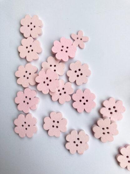Pale Pink shamrock floral shape flat wooden button